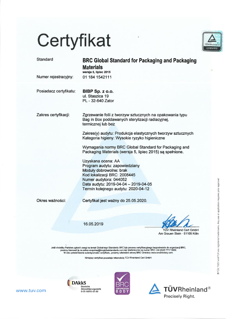 Przykładowy certyfikat